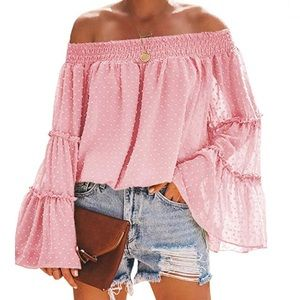 Pink off the shoulder sheer blouse